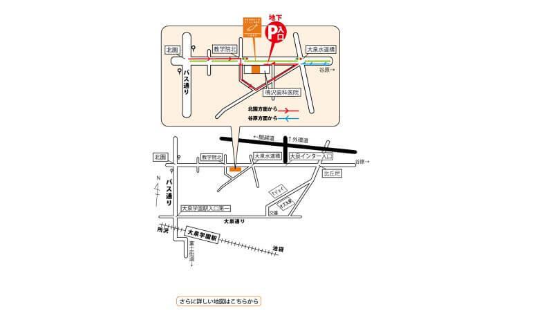 ペンギンビレッジ大泉店までの地図